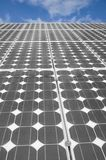The Solar Panels 4. Closeup view of solar panels on a blue sky background Stock Photos