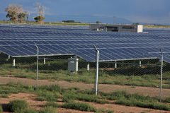 Solar panels. Solar energy panels on a farm in southern Colorado Stock Image