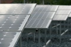 Solar panels. On roof top stock images