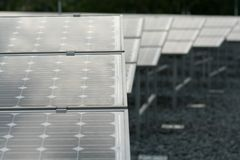Solar panels. On roof top royalty free stock image