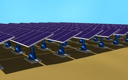 Solar panels. Illustration 3d of a set of solar panels on the ground Royalty Free Stock Photos