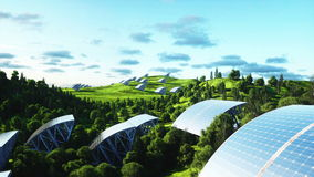 Solar panels aerial view. Wonderfull nature. Future. Realistic 4k animation. stock footage