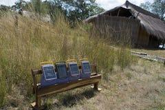 Solar panels. On the African savannah Stock Photo