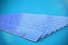 Composite image of solar panels. Solar panels against blue background vector illustration