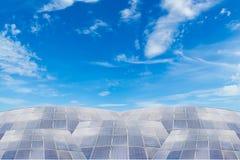 Solar panels against blue sky background Stock Photos