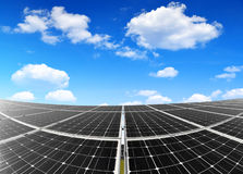 Solar panels. Against blue sky with clouds Stock Photo