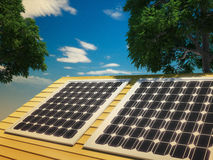 Solar Panels Against The Deep Blue Sky Royalty Free Stock Image