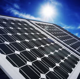 Solar Panels Against The Deep Blue Sky Stock Photos