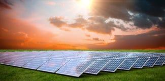 Composite image of solar panels. Solar panels against grass stock illustration