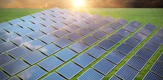 Composite image of solar panels. Solar panels against grass royalty free illustration