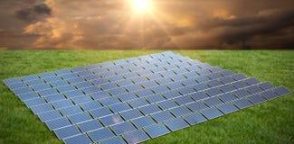 Composite image of solar panels. Solar panels against grass vector illustration
