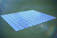 Composite image of solar panels. Solar panels against green background stock illustration