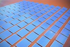 Composite image of solar panels. Solar panels against orange background royalty free illustration