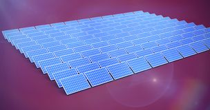 Composite image of solar panels. Solar panels against pink background vector illustration