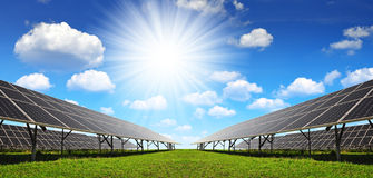 Solar panels against sunny sky. Royalty Free Stock Photography