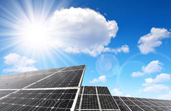 Solar panels against sunny sky. Royalty Free Stock Images