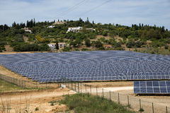 Solar panels on agricultural land in Portugal Royalty Free Stock Images