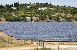 Solar panels on agricultural land in Portugal stock photos
