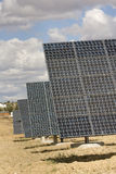 Solar panels aligned and faced to the sunlight Stock Image