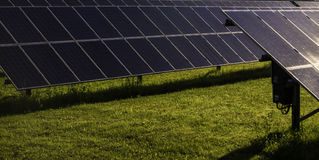 Solar panels, alternative electricity source, solar panels in the courtyard. Royalty Free Stock Photo