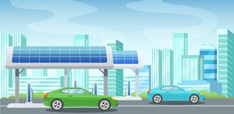 Solar panels, alternative energy, gas station, charging cars from electricity. Solar panels, alternative green energy, gas station, charging cars from vector illustration