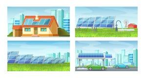 Solar panels, alternative energy. Green eco-friendly energy extraction, energy saving. Solar panels, alternative energy, on roof of private house, green lawn vector illustration
