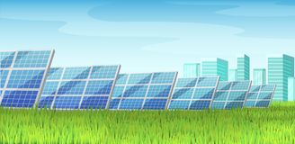 Solar panels, alternative energy, on a green lawn lawn. Solar panels, green energy, among the cityscape and skyscrapers on green grass. Green energy saving, eco vector illustration