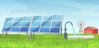 Solar panels, alternative energy, on a green lawn lawn. Solar panels, alternative green energy, on a green grass, windmill, wind power, farmhouse, among the royalty free illustration