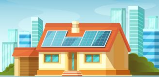 Solar panels, alternative energy, on roof of private house. Solar panels, green energy on roof of private house, among the cityscape, skyscrapers. Green energy royalty free illustration