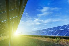 Solar panels, alternative source environmentally friendly energy. In the backlight sunbeam light royalty free stock photo