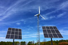 Free Solar Panels And Wind Energy Turbine Power Station Royalty Free Stock Photo - 67875285