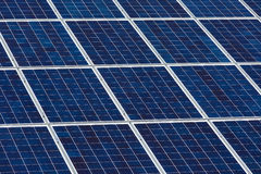 Solar panels. Angled view of solar panels on a sunny day Royalty Free Stock Image