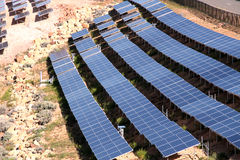 Solar panels. Array of solar panels in teh desert Royalty Free Stock Photography