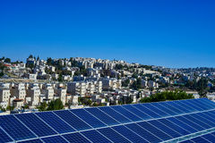 Solar panels on the background of the city  Jerusalem. Solar panels on the background of the city of Jerusalem Stock Images