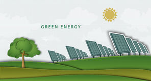 Solar panels, batteries, on clean field. concept Stock Photography