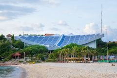 Solar panels on the beach at Koh Lan, Pattaya, Thailand. Solar panels on the beach at Koh Lan, Pattaya, Thailand Stock Photo