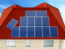 Solar panels being installed on building rooftop. 3D illustration Stock Photography