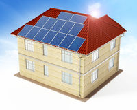 Solar panels being installed on building rooftop. 3D illustration Royalty Free Stock Images