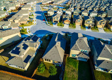 Solar Panels Bird`s Eye View Suburbia Modern Homes Vast Texas Hill Country. Birds Eye View Suburban Homes outside Austin , Texas near Round Rock , TX New royalty free stock photography