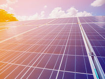Solar panels with blue sky and clouds. Solar energy environmentally friendly green energy Stock Image