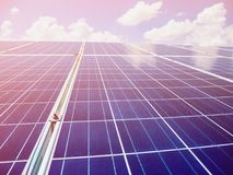 Solar panels with blue sky and clouds. Solar energy environmentally friendly green energy Royalty Free Stock Photography