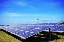 Solar panels with blue sky. Stock Images