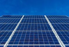 Solar panels and blue sky. During a sunny day stock images
