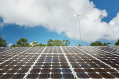 Solar panels with blue sky royalty free stock image