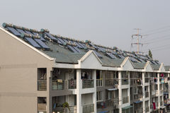 Solar panels and boilers energy China Royalty Free Stock Photo