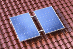 Solar panels on the brown roof conceptual illustration Royalty Free Stock Photo