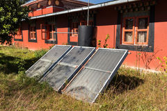 Solar panels in a Buddhist monastery, Nepal.  Stock Photography