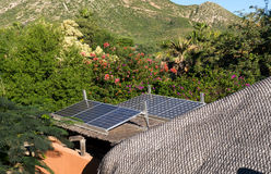 Solar panels in Cabo Pulmo, an echo village Stock Image
