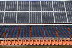 Solar panels and calefactors Royalty Free Stock Photos
