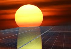 Solar panels or Solar cells energy with the sun for Electric power. Solar panels or Solar cells energy with the sun for Electric power in Asia royalty free stock image